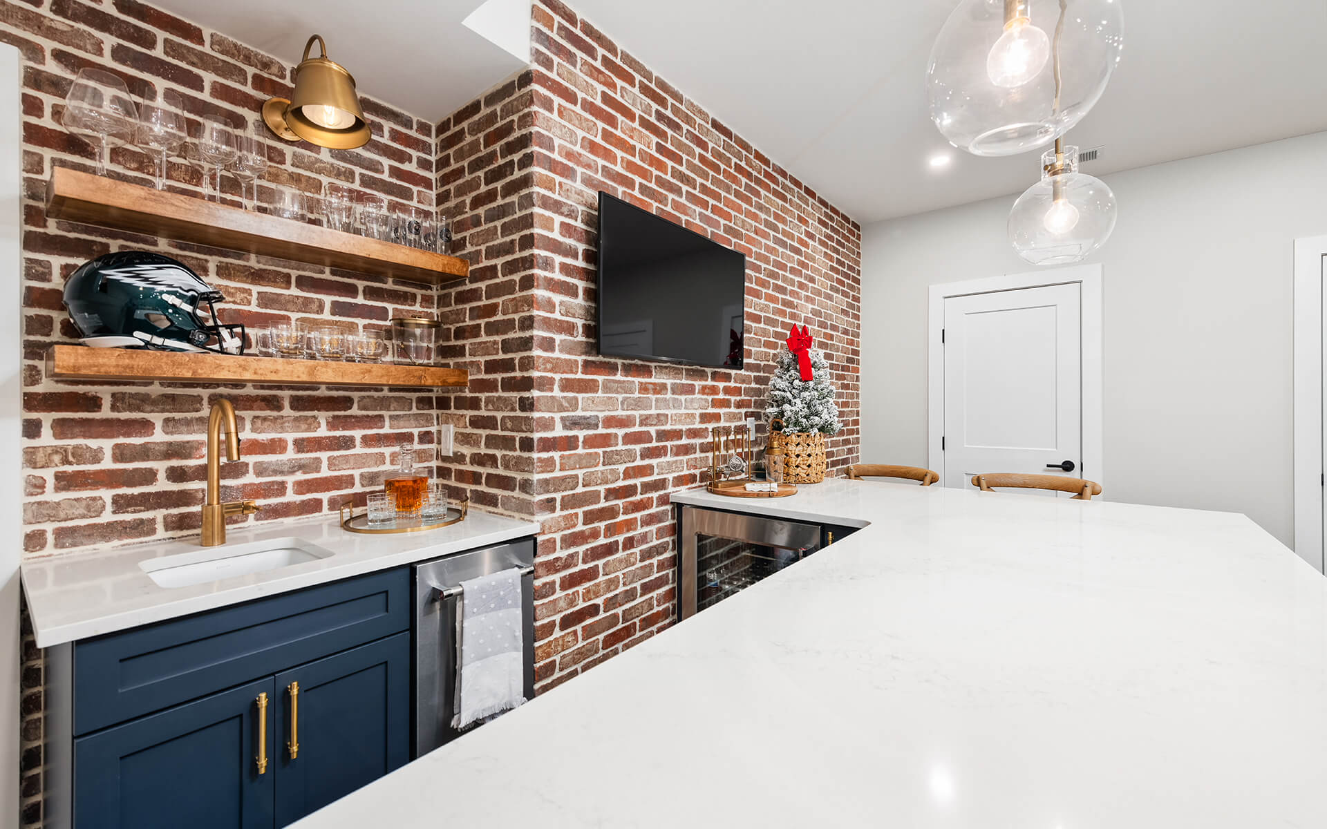 Finished Basement Project - Exposed Brick and Granite Bar